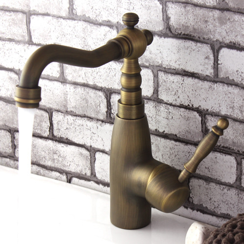 Antique Brass Bathroom Sink Faucet With Single Lever Handle 383F contemporary-bathroom-faucets