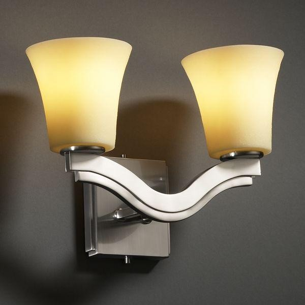 Justice Design CNDL-8975-20-AMBR-NCKL Bend 2-Light Wall Sconce (Style 2) Candle wall-sconces