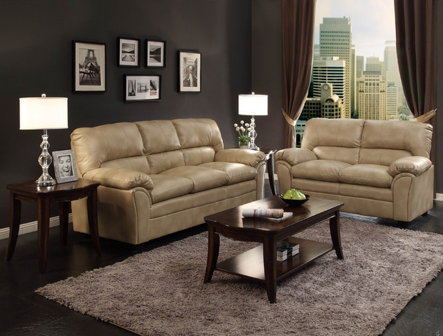Modern Talon Taupe Leather Sofa Couch Loveseat Tufted