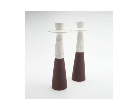 Beehive Juniper Candlestick Pair - Inspired by natural beauty and modern design, the Juniper Candlestick Pair by Beehive is designed to be as practical as they are beautiful. Each hand-crafted stoneware piece is high-fired for durability.