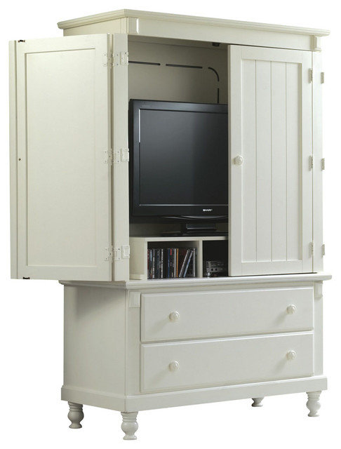 Homelegance Pottery 44 Inch TV Armoire in White - Traditional - Entertainment Centers And Tv ...
