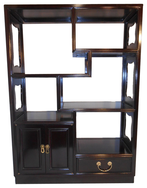 Asian Rosewood Step Curio Cabinet - Asian - Bookcases - by Oriental ...
