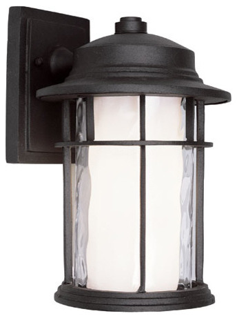 Black One-Light 11.5-Inch Outdoor Wall Mount with Double Glass modern-outdoor-lighting