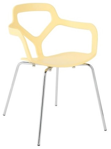 Euro Style Nadia Stacking Dining Chair - Set of 4 - Butter Yellow contemporary-dining-chairs