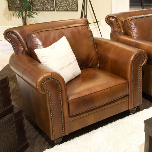 The Paladia Top Grain Leather Accent Chair in Rustic is a piece with a sleek tra traditional-armchairs