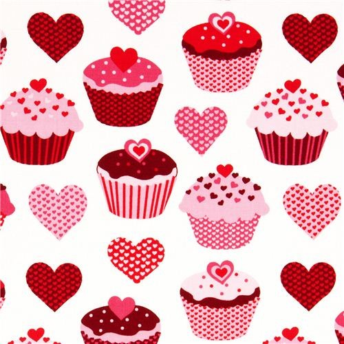 white heart cupcake fabric by Robert Kaufman - Fabric - by ModeS Group ...