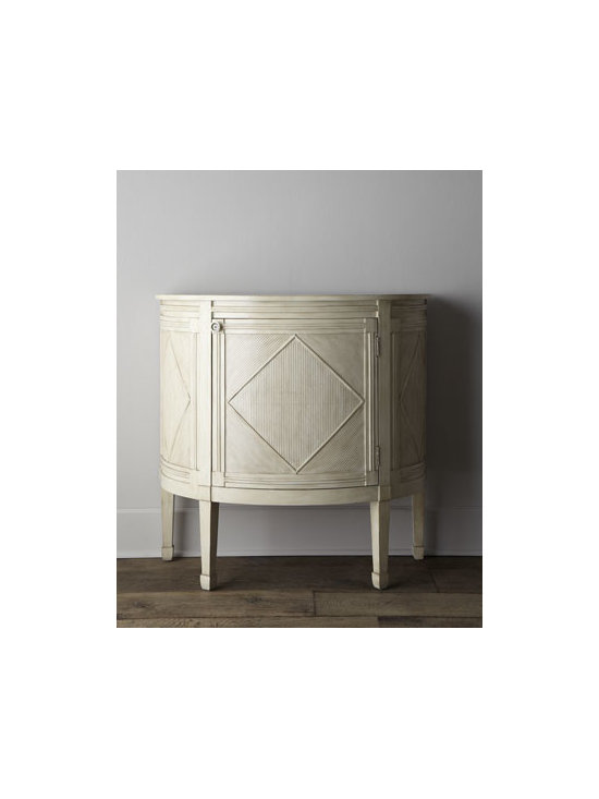 """Horchow - Clarissa Demilune Chest - This demilune chest plays to the popular Scandinavian trend with its washed cream finish that keeps its presence light while still offering the storage solution you need. Crafted of Asian hardwoods. One door. 40""""W x 20""""D x 39""""T. Imported. Boxed wei..."""