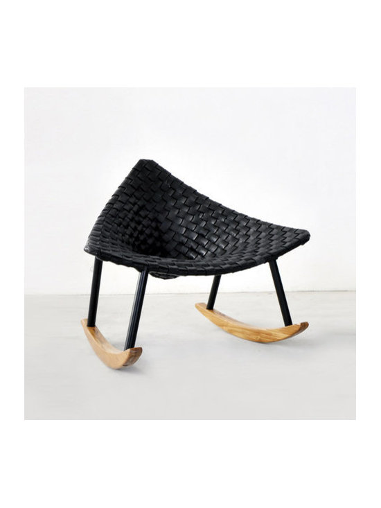 Innermost - Aviva Rocker - The Aviva Rocker features an elegant triangular form that deliberately evokes a mid-20th century feel while modestly hiding a series of technical achievements. Available with woven Black leather or woven Black synthetic material. 34 inch width x 37 inch height.