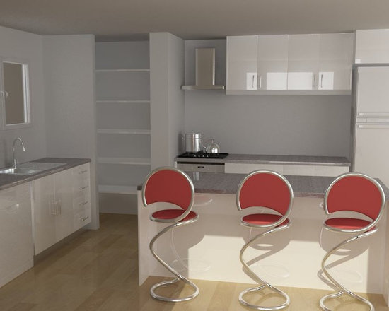 kitchen cabinet 005 - design free, customized, top quality, with bench top and top stainless steel sink
