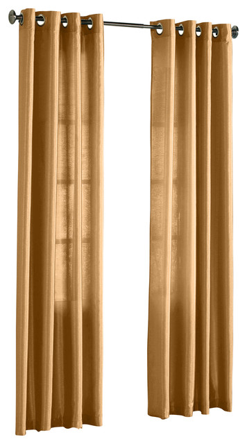 Hlc Me Pair Of Faux Silk Grommet Curtain Panels Gold 54 X 95 Traditional Curtains By