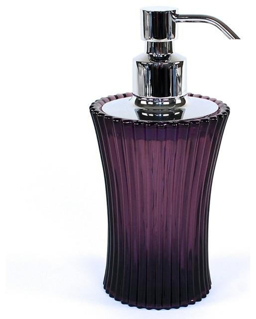 Purple Round Glass Soap Dispenser Contemporary Soap