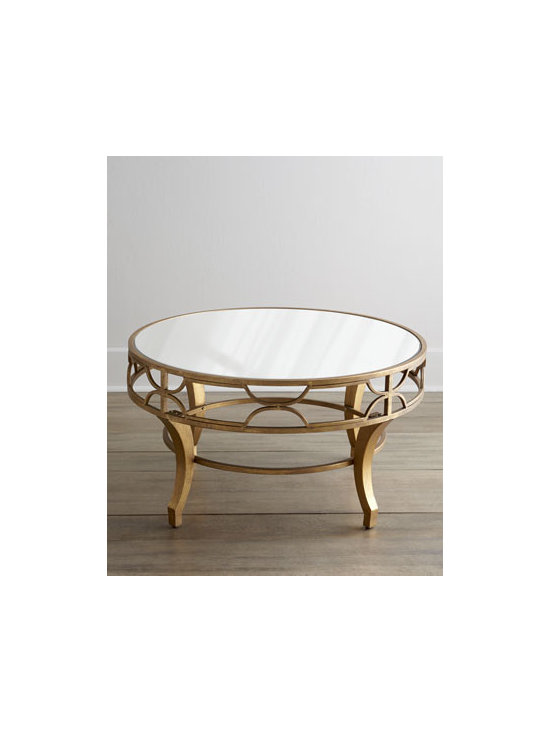 """Horchow - Lena Mirrored-Top Coffee Table - An antiqued golden finish combined with a mirrored top and fretwork apron makes this coffee table sturdy and chic. It gives any room an eclectic look. Made of metal and mirrored glass. 36""""Dia. x 19""""T. Imported. Boxed weight, approximately 54 lbs. ...."""