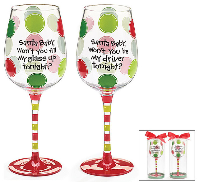 santa baby christmas wine glass decorative cup cute