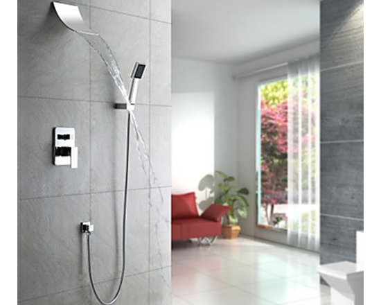 Shower Faucets - Contemporary Waterfall Shower Faucet with Shower head + Hand Shower (Wall Mount)--FaucetSuperDeal.com