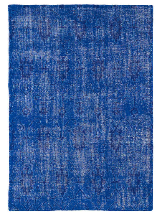 """Kaleen - Kaleen Restoration Collection RES01-17 8' x 10' Blue - The Restoration collection puts the finishing touches on a classic reproduction for some of the most unique rugs in the world. Hand-knotted in India of 100% wool, each rug is intentionally distressed by hand-shearing for authenticity, over-dyed colors for beautiful style, and complete with the smallest little details for the perfect replica of a vintage antique rug.  A 100% natural """"green"""" product and completely free of any latex materials."""