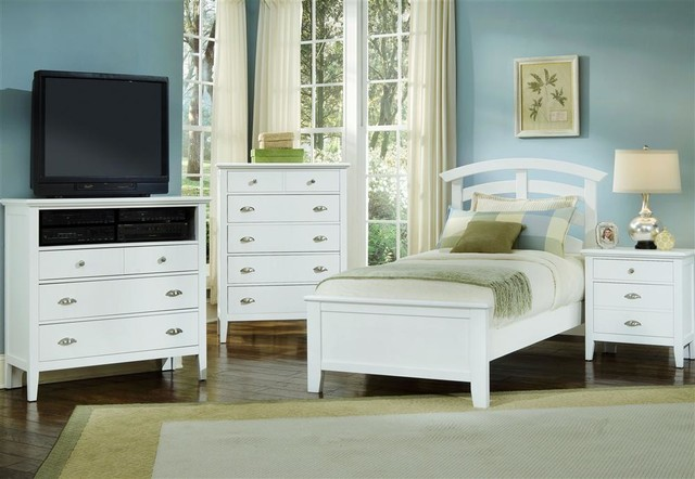 Twin Size Arched Panel Bedroom Set in Snow Wh contemporary-bedroom-furniture-sets