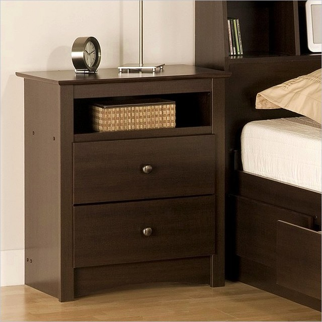 Prepac fremont espresso tall night table contemporary for Tall modern nightstands