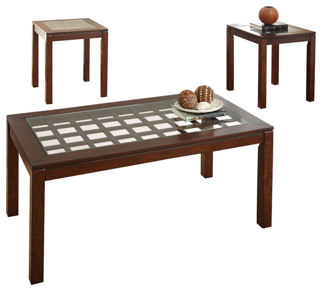 Steve Silver Dixon 3 Piece Coffee Table Set With Glass Insert In Cherry Traditional Coffee
