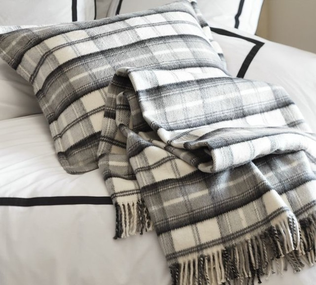 Plaid Fringed Blanket - traditional - throws - by Pottery Barn
