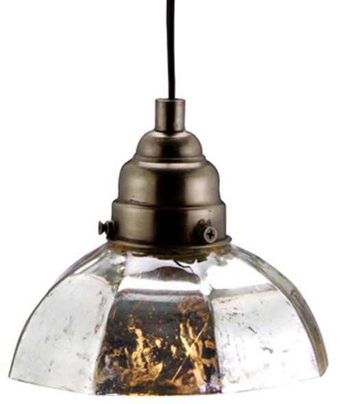 Antiqued Silver Octagonal Pendant Lamp Eclectic