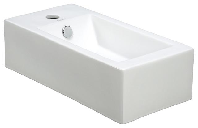 Porcelain Wall-Mounted Right-Facing Sink modern-bathroom-sinks