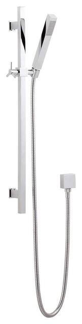 Modern Chrome Square Slide Rail Shower Kit With Square Handset contemporary-showers