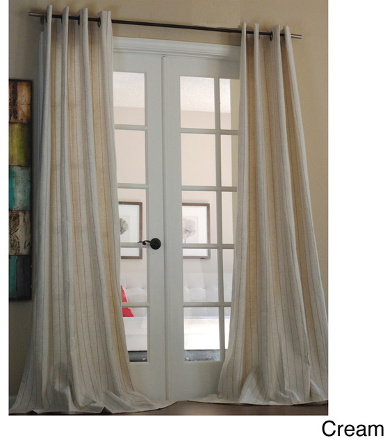 Curtains Ideas sheer linen curtains : ... Pinstripe Linen Blend 96-inch Curtain Panel contemporary-curtains
