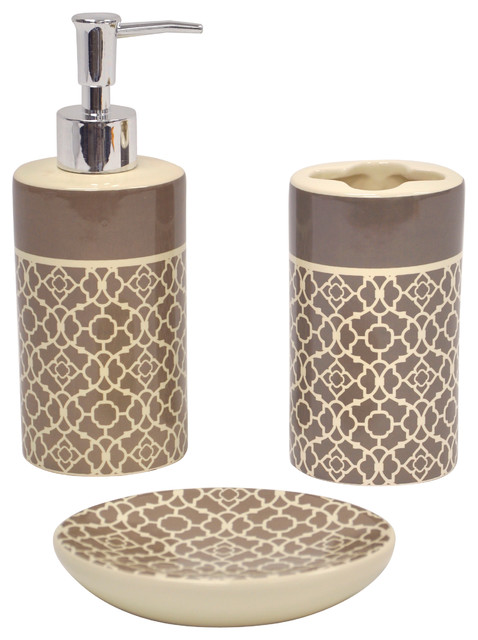 Lovely lattice taupe bath accessory 3 piece set for Cream bathroom accessories set