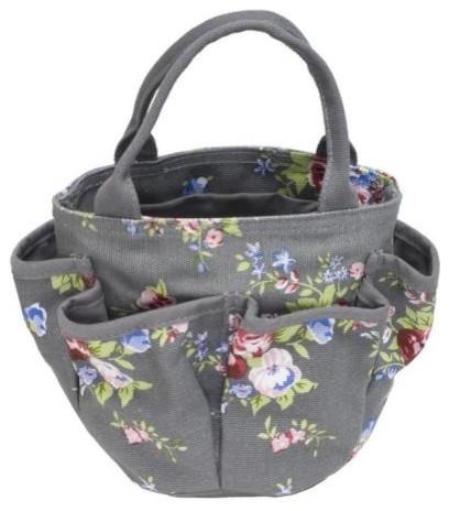 Grey Floral Fabric Gardening Bag traditional-gardening-tools