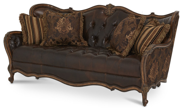 Lavelle Melange Leather/Fabric Wood Trim Tufted Sofa - traditional