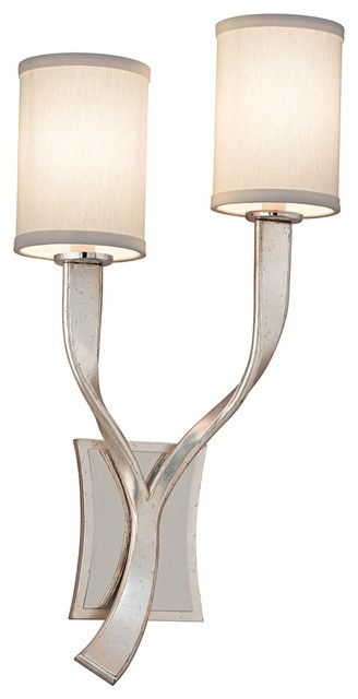 """Corbett Roxy Left 24"""" High 2-Light Silver Leaf Wall Sconce contemporary-wall-sconces"""