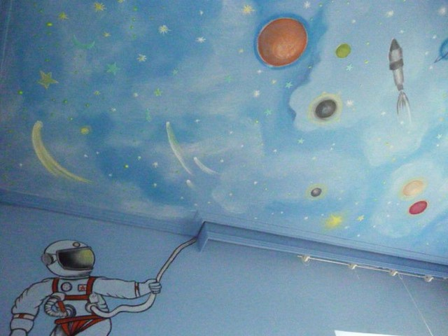 kids room space theme mural hand painted contemporary