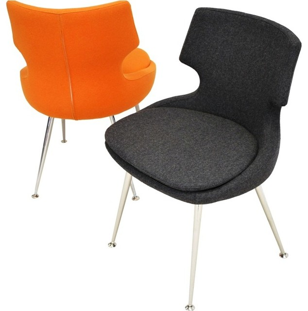 Patara Dining Chair by sohoConcept - Dark Grey Wool & Orange Wool