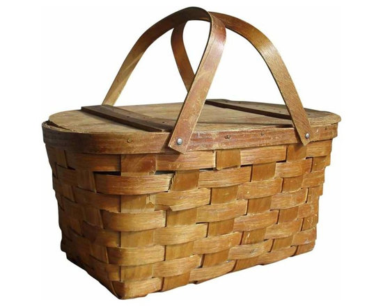 Picnic Basket - vintage wooden picnic basket planked top w/ basket weave sides double arms w/ (2) brass hinges.