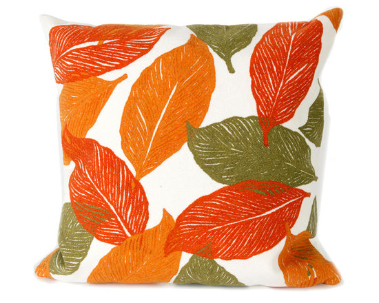 """Trans-Ocean Outdoor Pillows - Trans-Ocean Liora Manne Mystic Leaf Orange - 20"""" x 20"""" - Designer Liora Manne's newest line of toss pillows are made using a unique, patented Lamontage process combining handmade artistry with high tech processing. The 100% polyester microfibers are intricately structured by hand and then mechanically interlocked by needle-punching to create non-woven textiles that resemble felt. The 100% polyester microfiber results in an extra-soft hand with unsurpassed durability."""