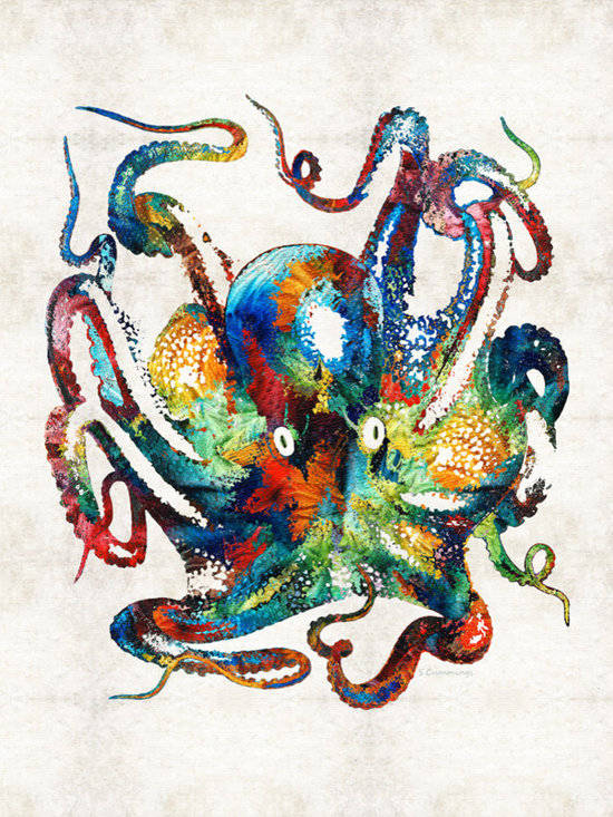 Animals, Fish and Birds - Colorful Octopus Art By Sharon Cummings
