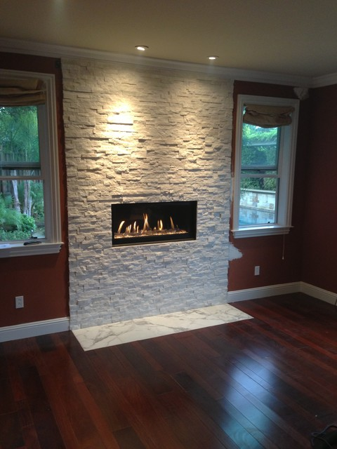 Fireplace before and after contemporary