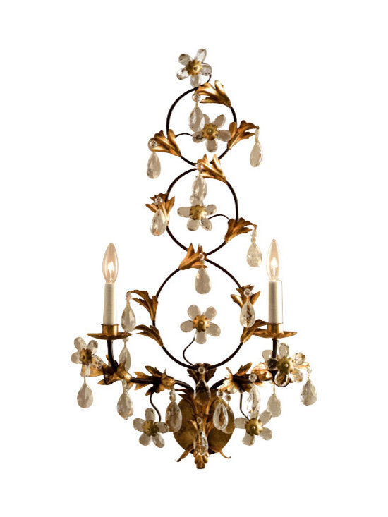 "Inviting Home - Wrought Iron and Crystal Sconce - Wrought iron electrified sconce with glass flowers and crystal drops; 17""W x 9""D x 32""H; made in Italy; Two-light hand-wrought iron electrified sconce with glass flowers and crystal drops. Wrought iron sconce finished in antiqued gold-leaf and has brown trim. Wall sconce designed for use with candelabra bulbs; made in Italy. UL approved - dry location; hardwire; 2x 60W max. candelabra bulds; bulbs not included. Handcrafted in italy."