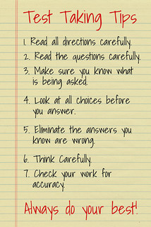test taking tips classroom motivational poster