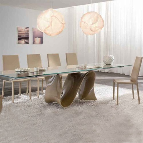 Inch Extension Glass Table Modern Dining Tables By