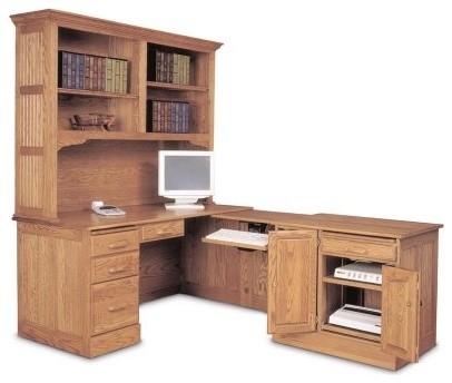 Haugen Oak L Shaped Computer Desk With Optional Hutch