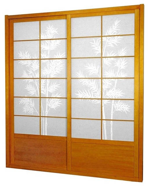 7 ft tall bamboo tree shoji sliding door kit honey