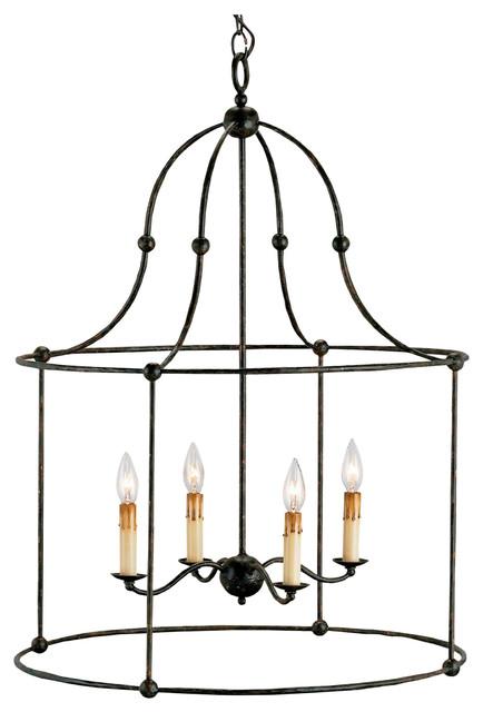 french country black iron frame 4 light lantern pendant