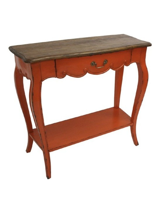 Chichi Furniture Exclusives. - A simple and stunning rustic console table. Featuring our French country Rustic finished top sitting atop an elegant console frame. Long cabriole style legs leading down to a lower shelf. This piece would look perfect adorning your hallway or even your kitchen with some decorative baskets underneath.