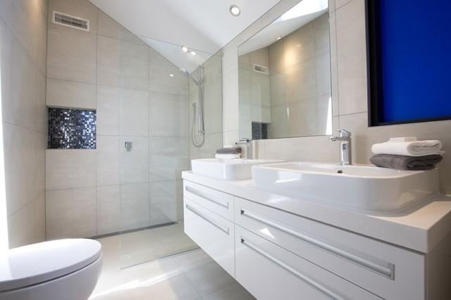 Earthstone Talc Ivory Tiled Bathroom - 47 Capriana Dr, Karaka contemporary-bathroom