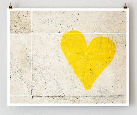 Paris Graffiti Yellow Heart Wall Art Yellow by Little Brown Pen modern-artwork