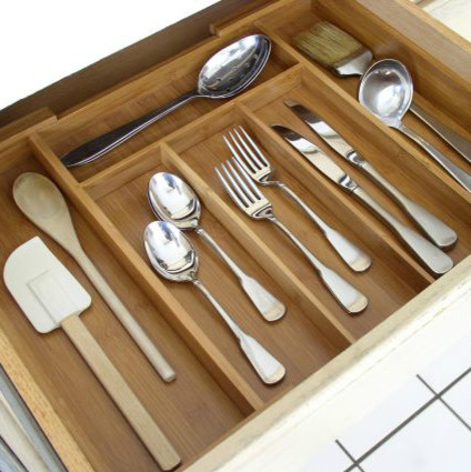 Expandable Bamboo Cutlery Tray contemporary-kitchen-drawer-organizers