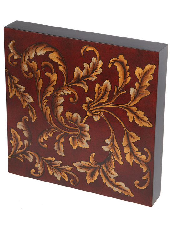 Brandi Renee Designs - Red with Gold Leaves Handpainted Wall Art, Wood Tile - This stunning hand painted wall tile is one of a large collection of wall art pieces that can be used in a wall grouping or alone in a small space.