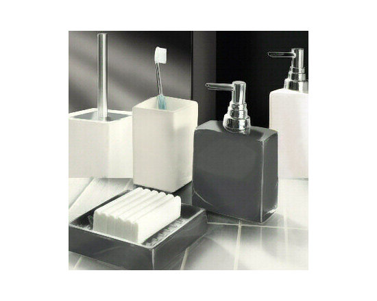 Flash Porcelain Bathroom Accessories from Vita Futura - Rectangular and square design with matte ribbed finish with  a gloss finish available in white, anthracite grey and black.