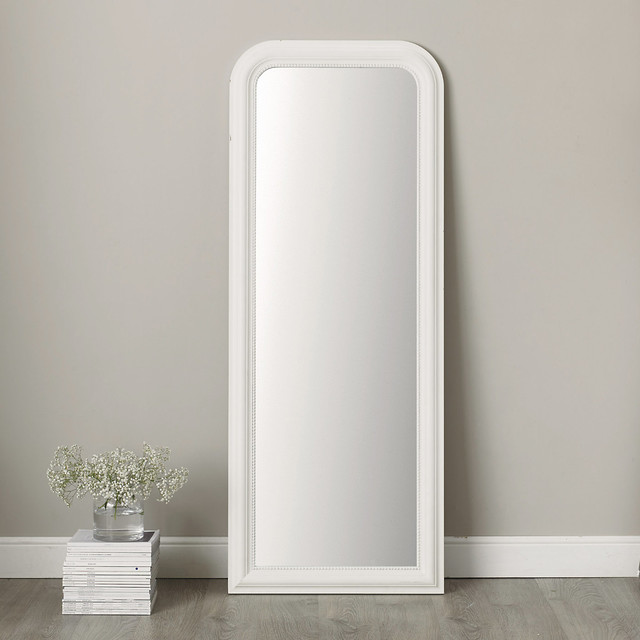 Madison full length mirror contemporary floor mirrors for Floor mirror white frame